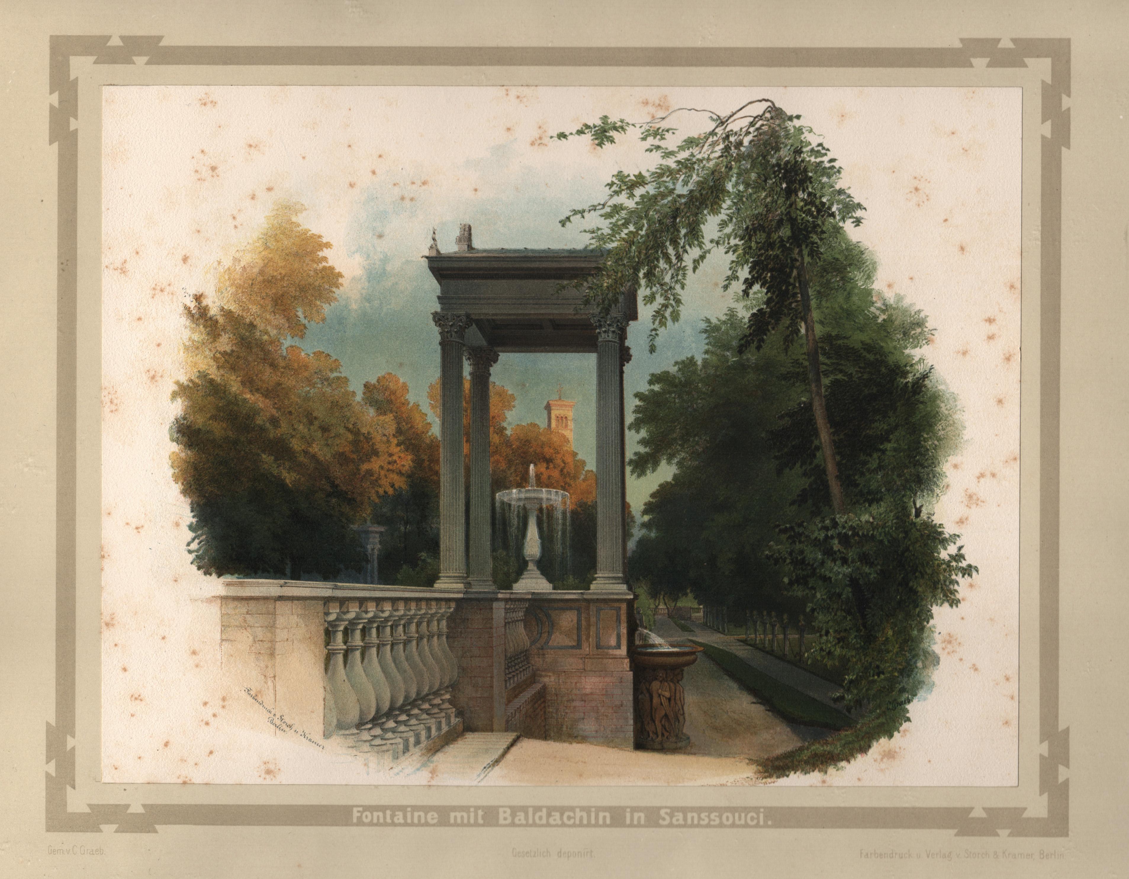 """Park Sanssouci, """"Fontaine mit Baldachin in Sanssouci"""".: Potsdam - Park"""