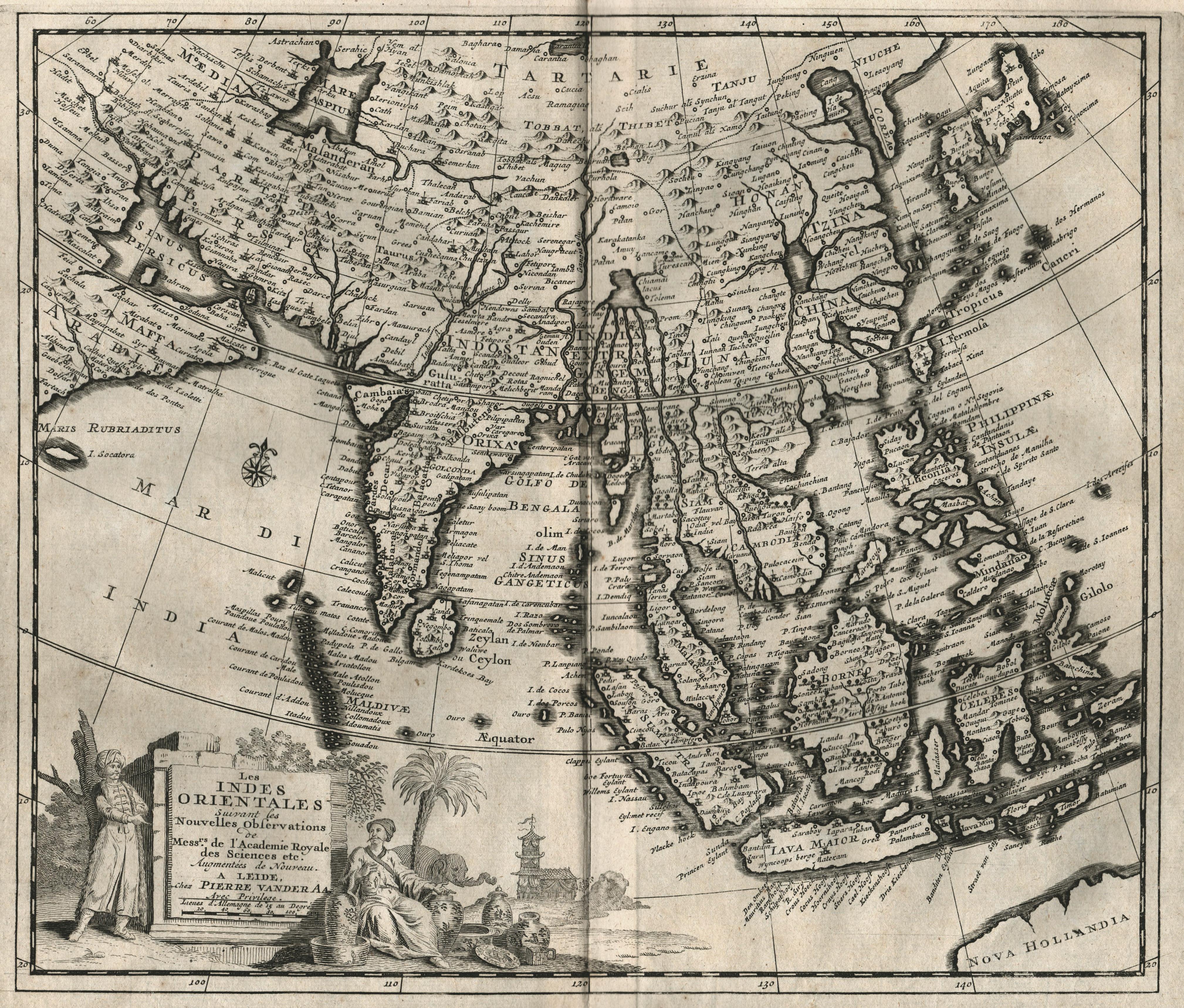 "Kst.- Karte, aus Mandelslo, ""Voyages . "": Indien - Südostasien"