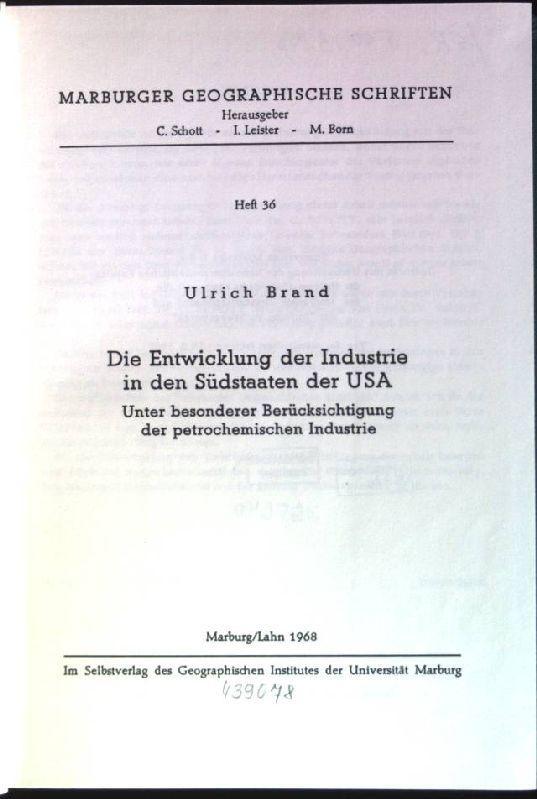 Die Entwicklung der Industrie in den Südstaaten: Brand, Ulrich:
