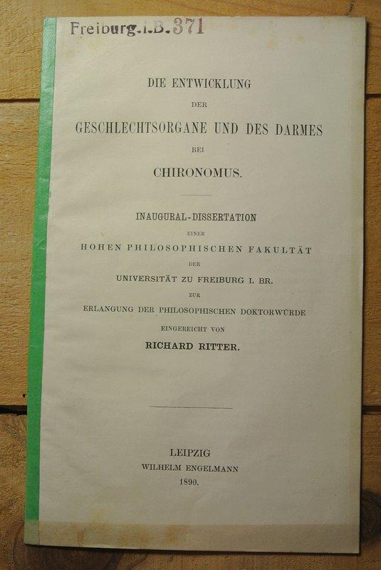 Die Entwicklung der Geschlechtsorgane und des Darmes: Ritter, Richard: