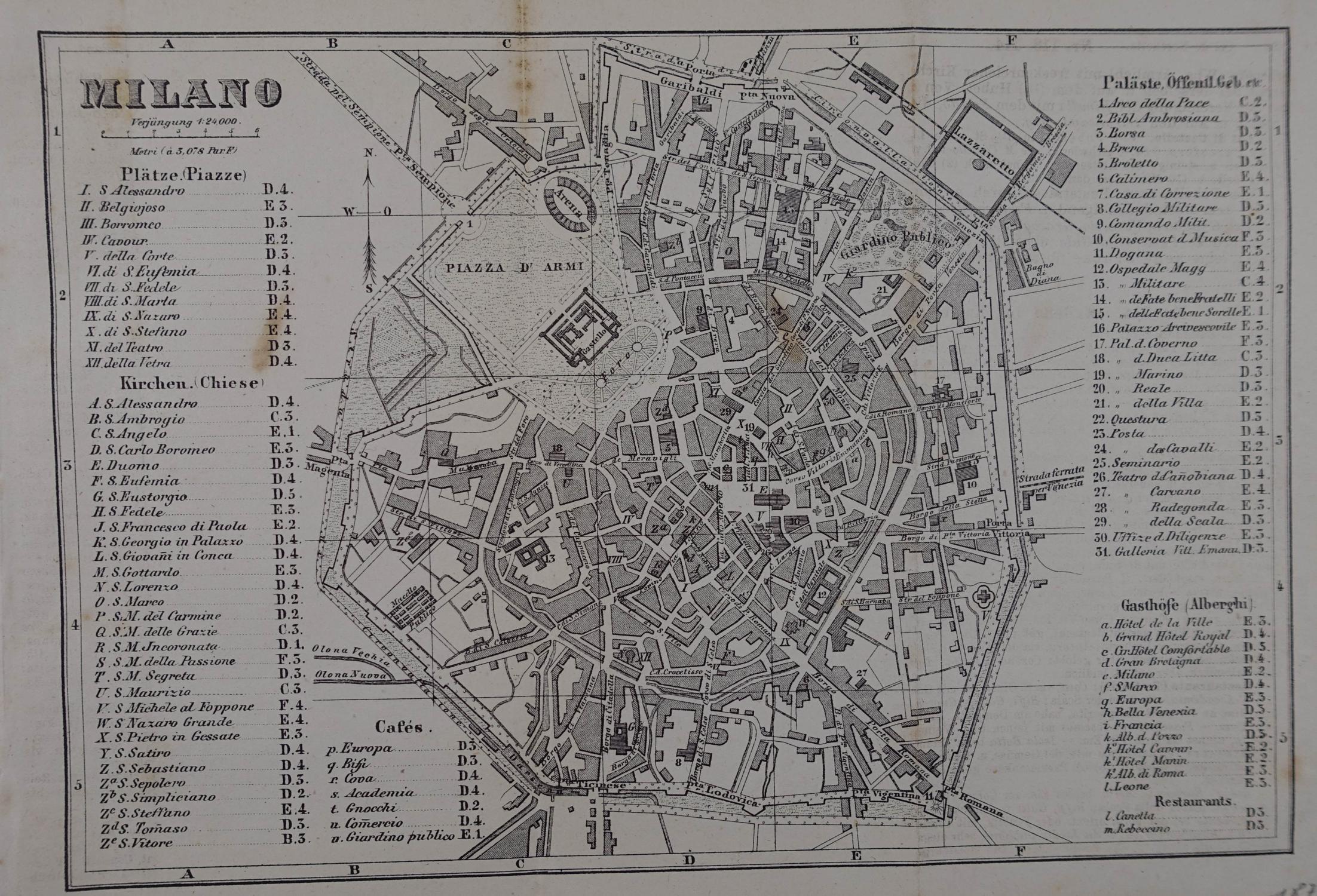 Lithographierter Stadtplan, Winterthur bei Wurster, Randegger u.: Mailand (Milano)