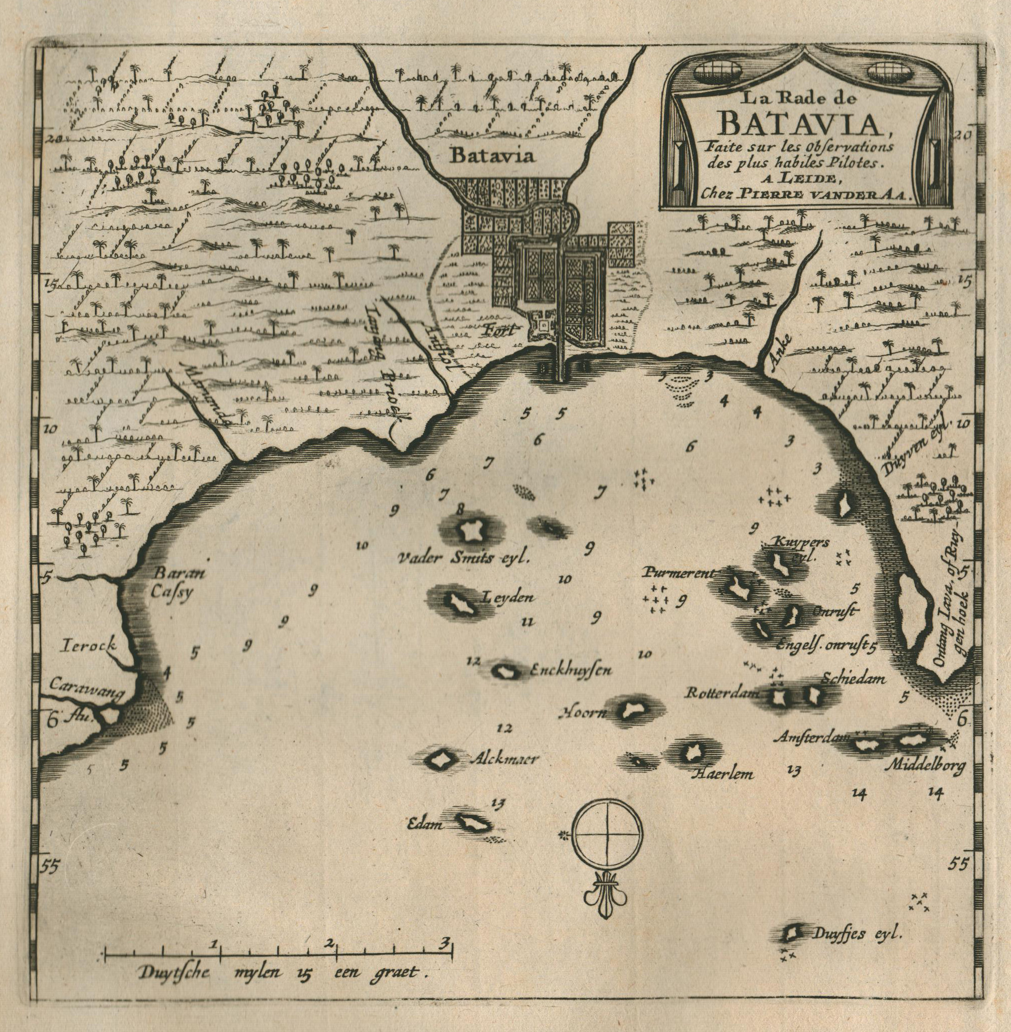 """Umgebungskarte, """"La Rade de Batavia ."""".: Indonesien ( Indonesia"""
