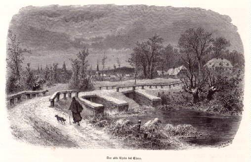 Der alte Rhein bei Cleve. Holzstich.: Kleve -