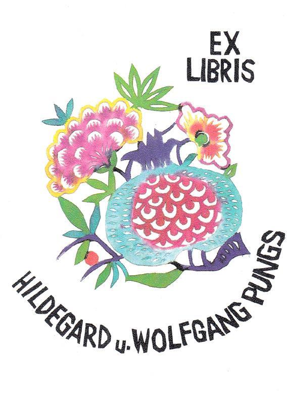 "O-Linoldruck, handkoloriert ""Exlibris Hildegard u. Wolfgang Pungs"",: Benkel, Utz (deutscher"