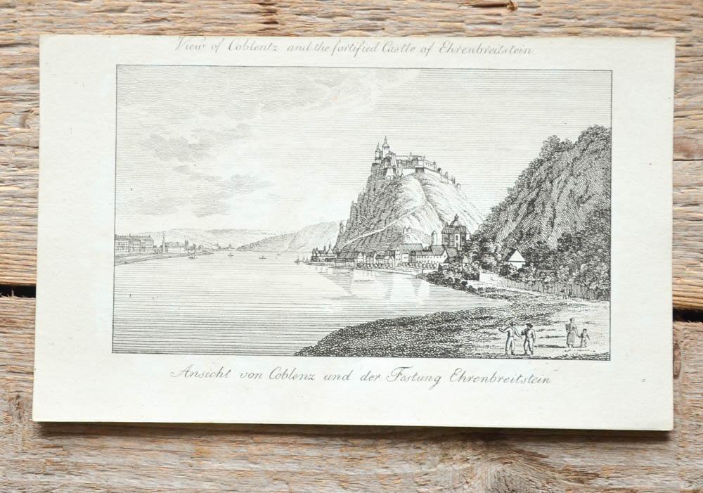 Stammbuchblatt mit Kupferstich-Ansicht von Wiederhold. View of: Koblenz, Ehrenbreitstein -:
