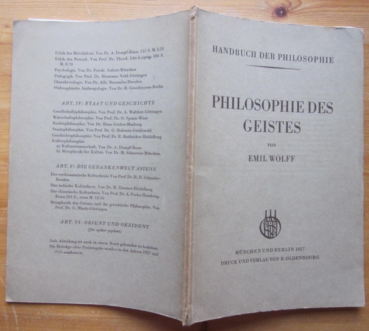 Philosophie des Geistes. Sonderausgabe aus dem Handbuch: Wolff, Emil: