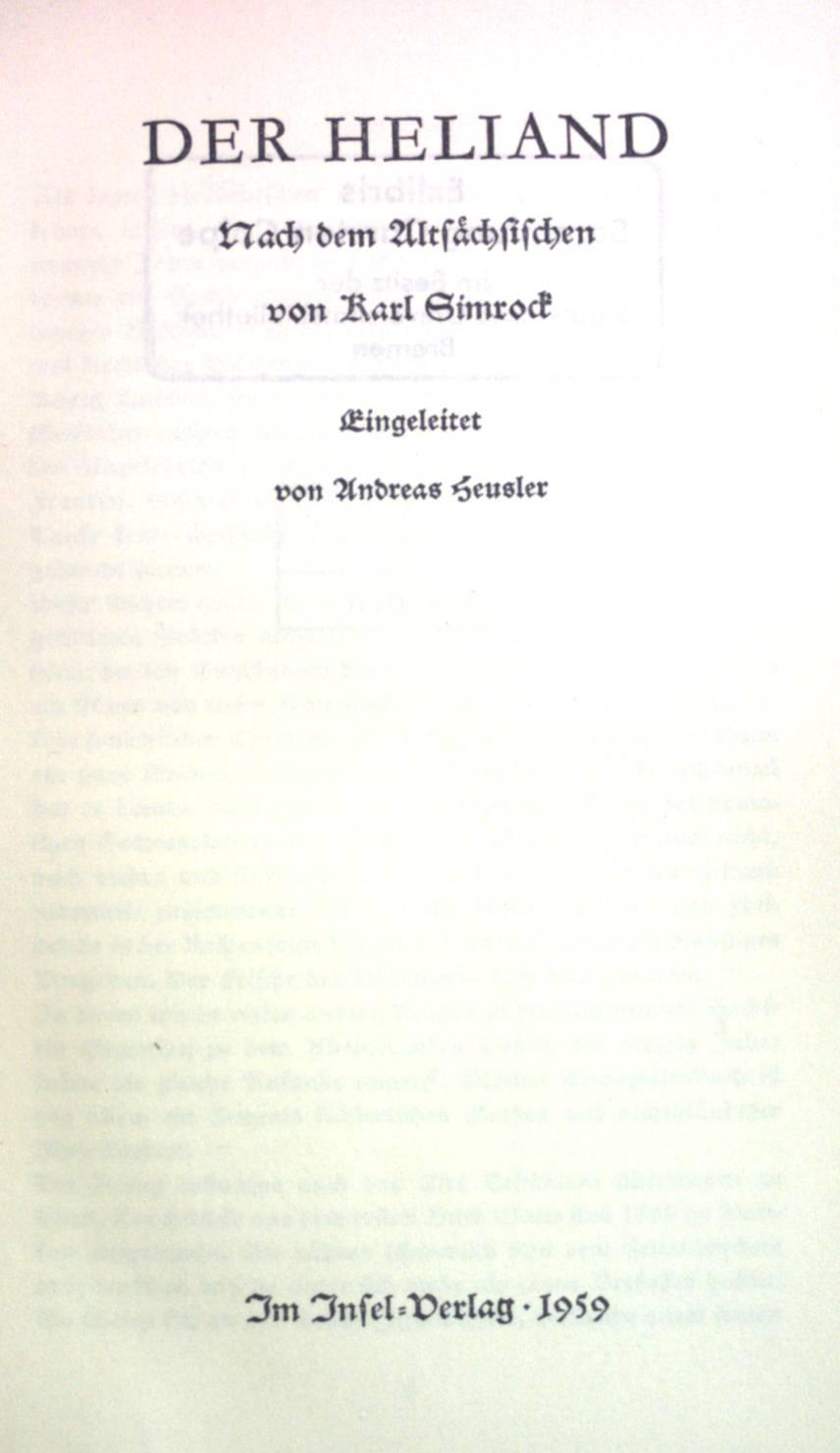 Der Heliand.: Heusler, Andreas: