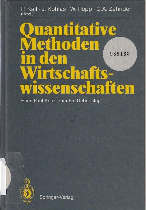 Quantitative Methoden in den Wirtschaftswissenschaften : Hans: Kall, Peter (Herausgeber),