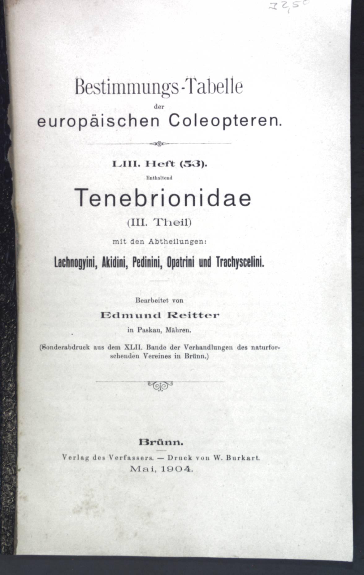 Bestimmungs-Tabelle der europäischen Coleopteren LIII. Heft enthaltend: Reitter, Edmund: