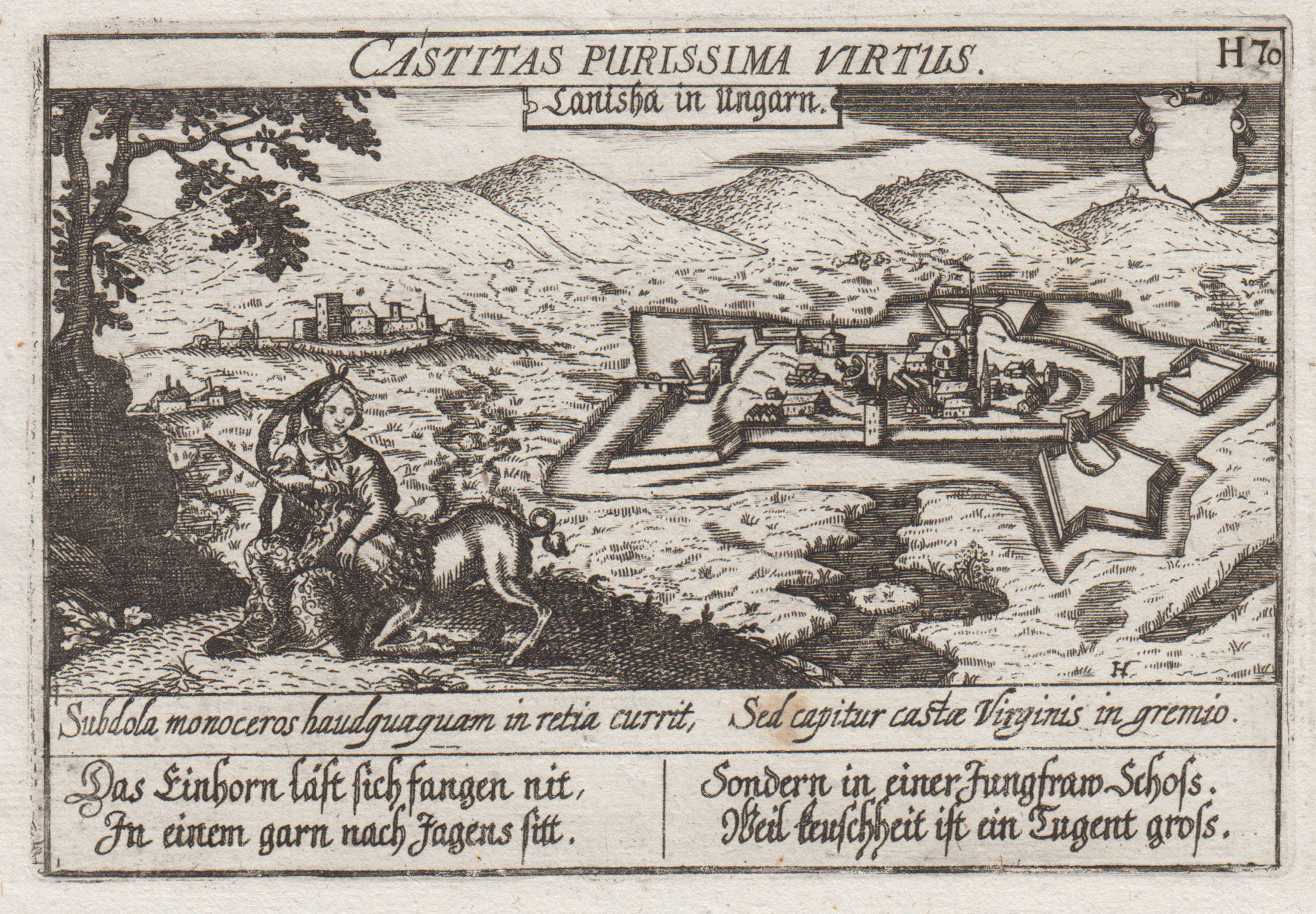"Gesamtans., (Aufsicht), darunter Vers, ""Canisha in Ungarn.: Nagykaniza ( Kanizsa,"