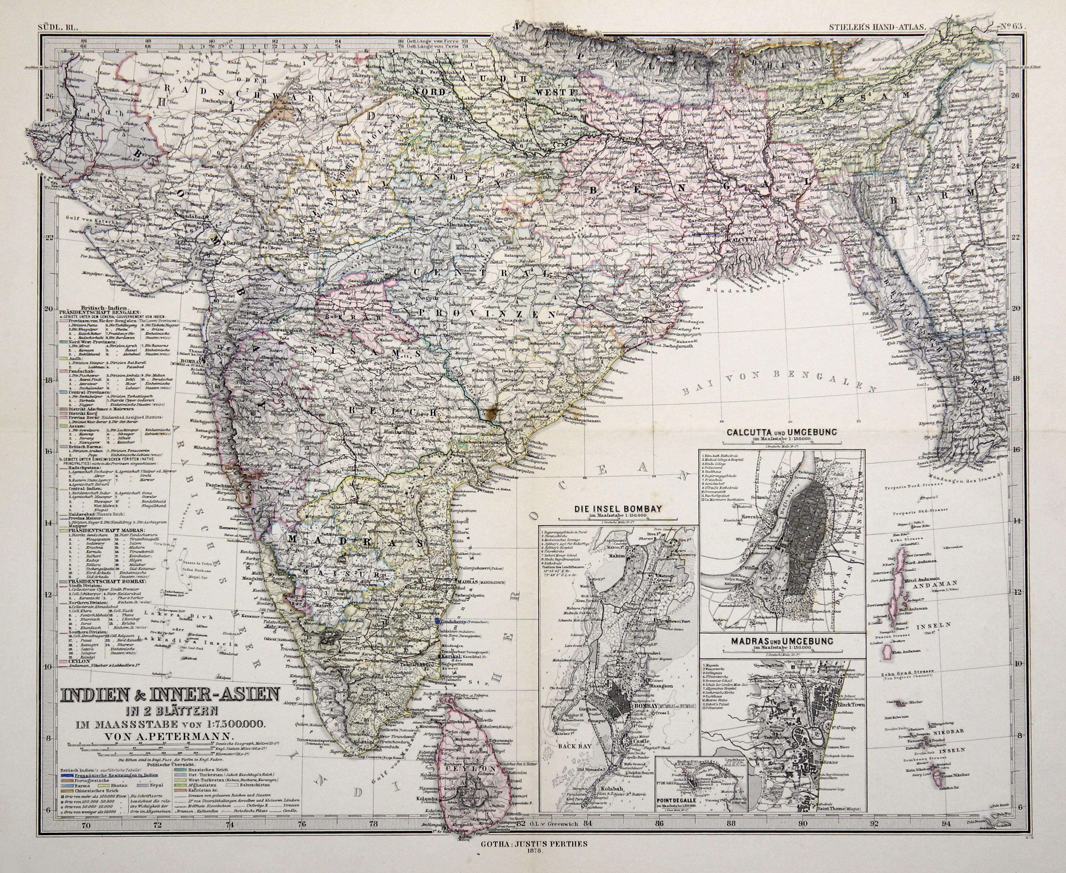 """Stst.- Karte, n. Petermann b. Perthes, """"Indien: Indien ( India"""