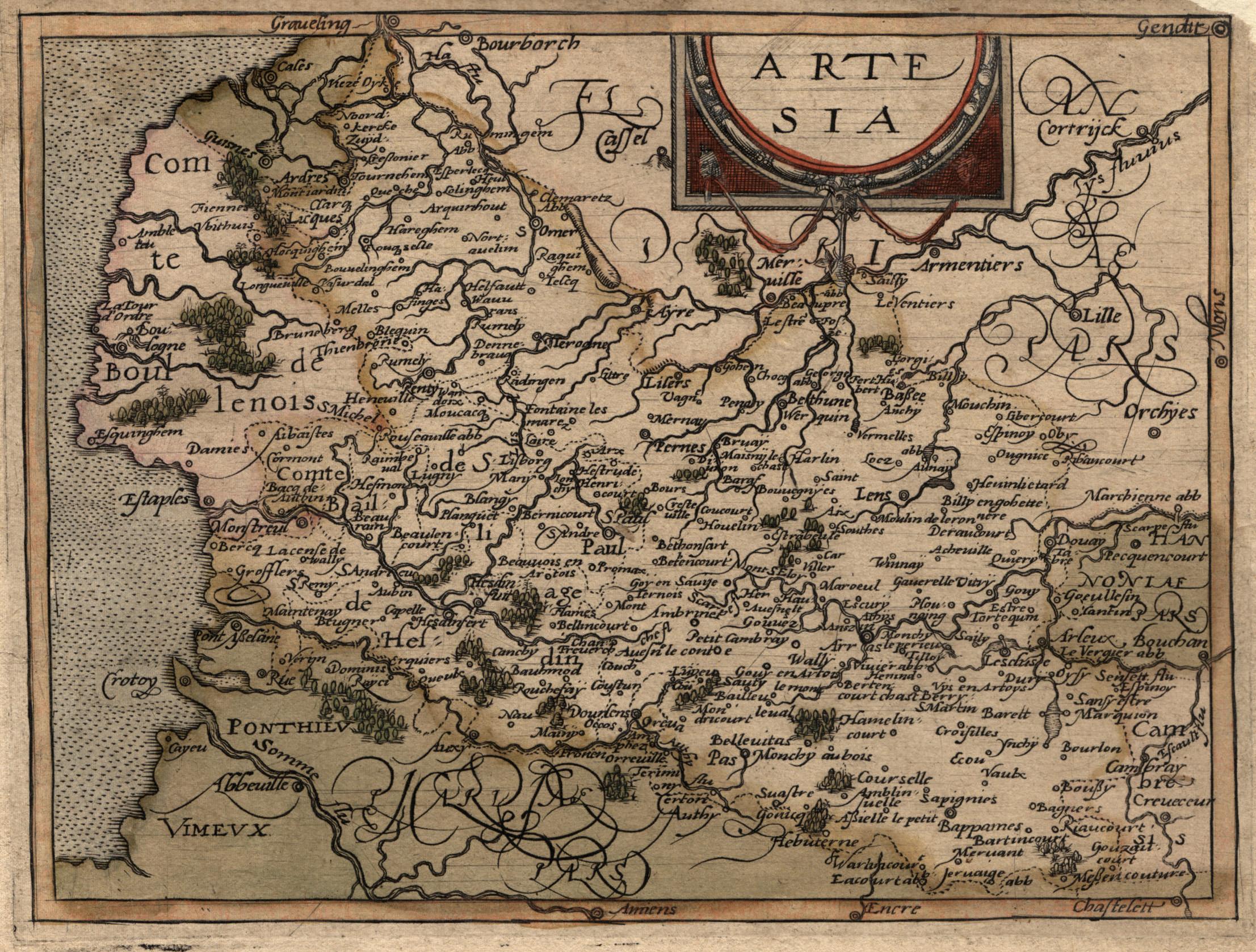 "Kst.- Karte, aus ""Itinerarium Orbis Christiani"", ""Artesia"".: Artois:"