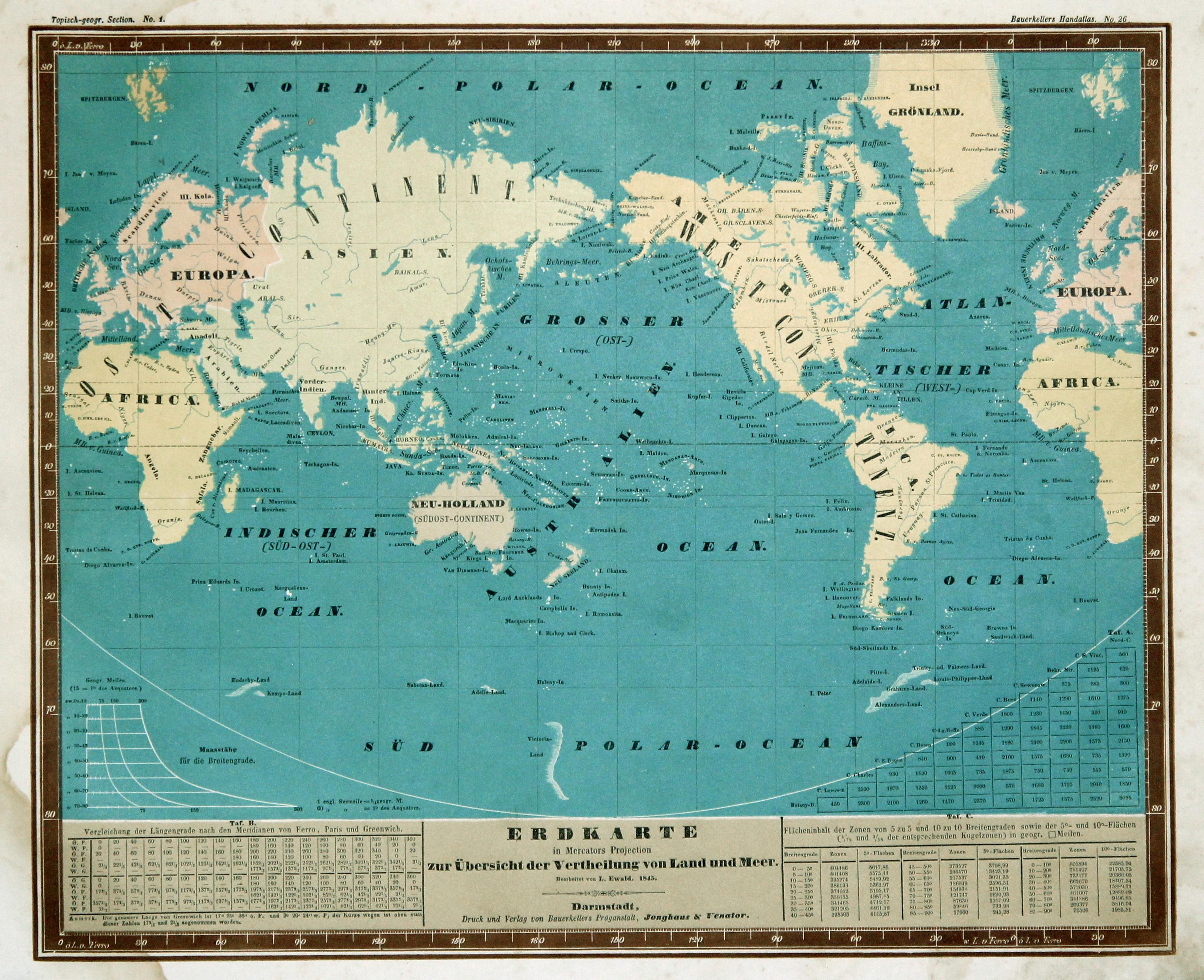 Litho.- Karte, n. L. Ewald aus Bauerkellers: Weltkarte ( World