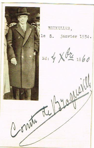 Briefkarte mit eigenh. Unterschrift.: Broqueville, Charles Marie