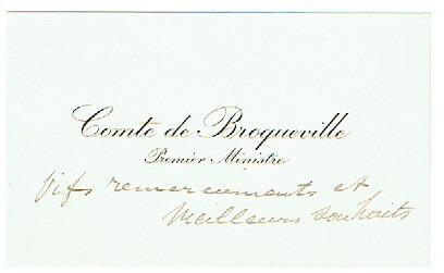 Visitenkarte mit eigenh. Zusatz.: Broqueville, Charles Marie
