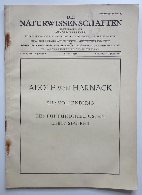 Adolf von Harnack. Zur Vollendung des fünfundsiebzigsten: Berliner, Arnold (Hrsg.)