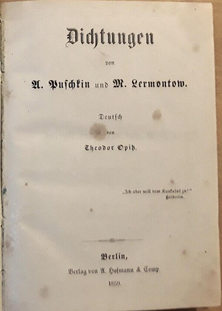 Dichtungen. Deutsch von Theodor Opitz.: Puschkin, A(lexander Sergejewitsch)