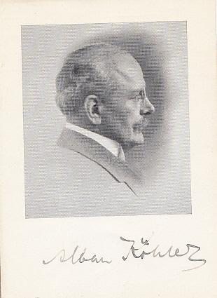 Autograph. Fotopostkarte im Profil nach rechts mit: Köhler, Alban (*