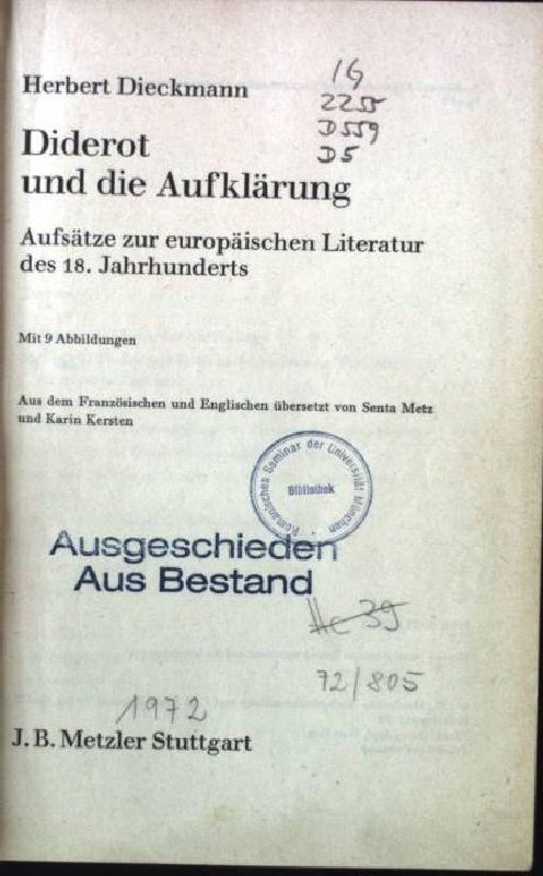 Diderot und die Aufklärung : Aufsätze z.: Dieckmann, Herbert: