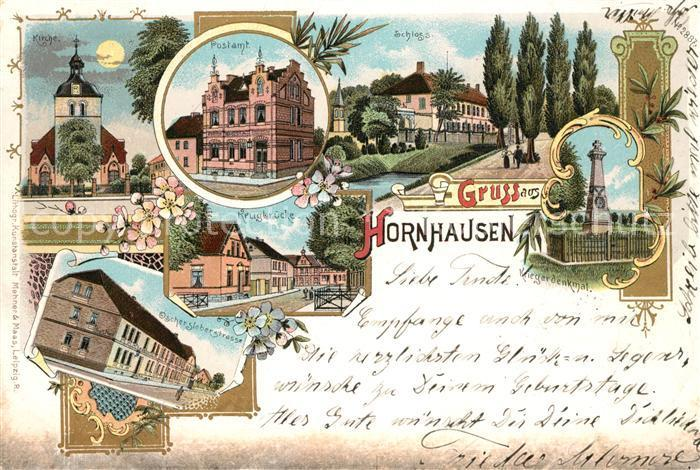 Postkarte Carte Postale Hornhausen Postamt Schloss Kirche