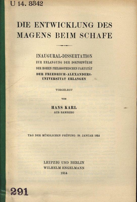 Die Entwicklung des Magens beim Schafe /: Karl, Hans,