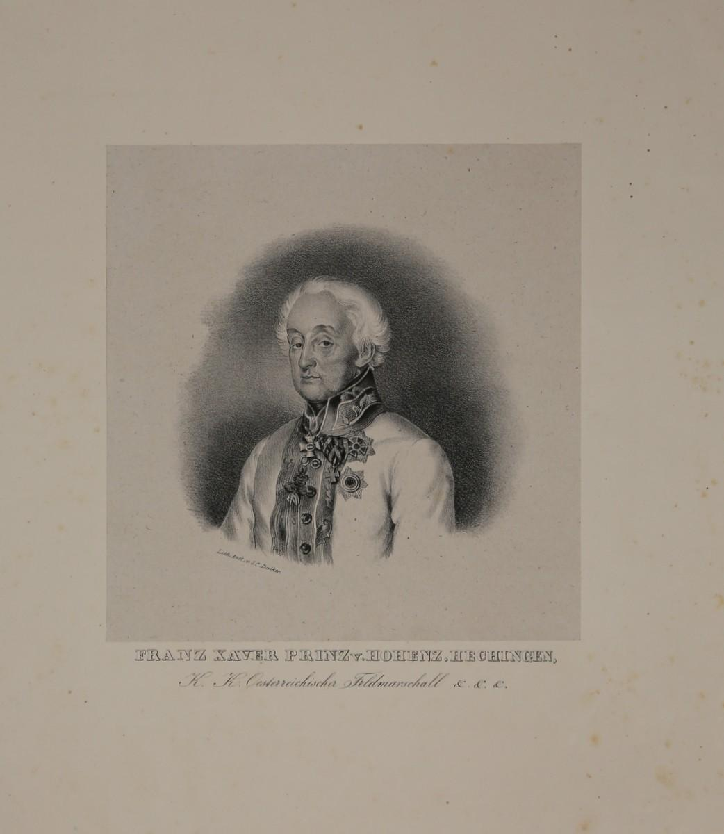 Portrait. Brustfigur in Uniform nach halblinks. Lithographie: Hohenzollern-Hechingen, Friedrich Franz