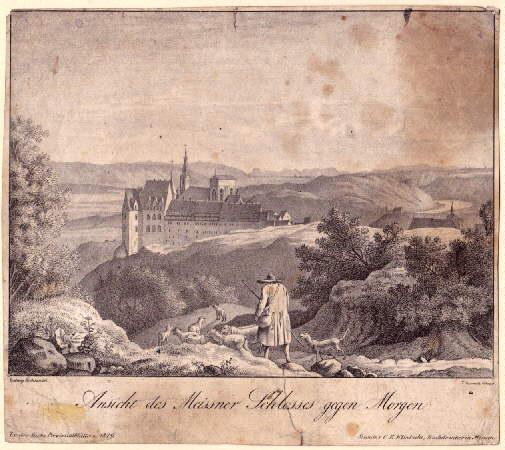 Ansicht des Meissner Schlosses gegen Morgen. Lithographie: Meissen -