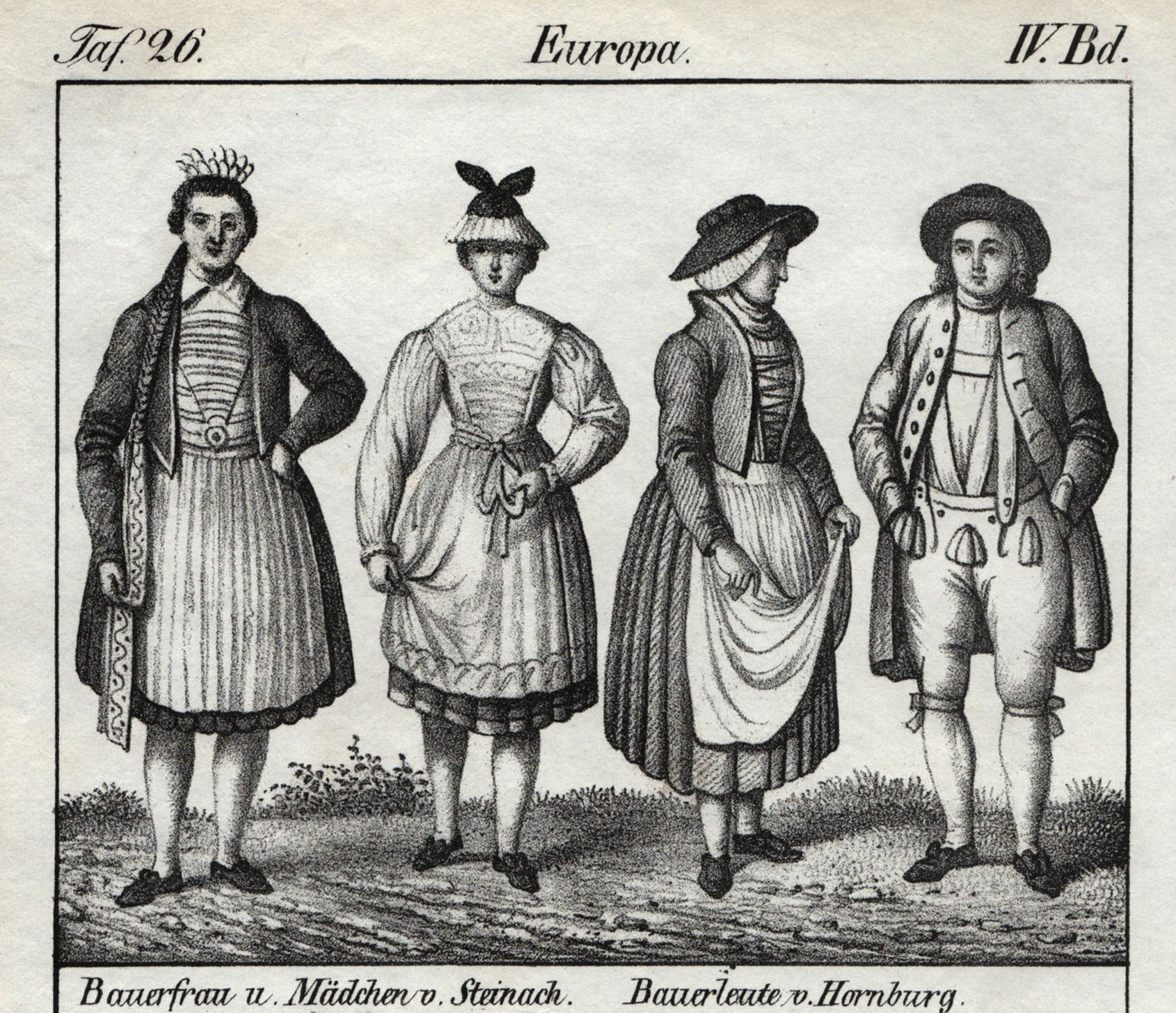 Bauerfrau u. Mädchen v. Steinach. Bauerleute v.: Steinach: Tracht: