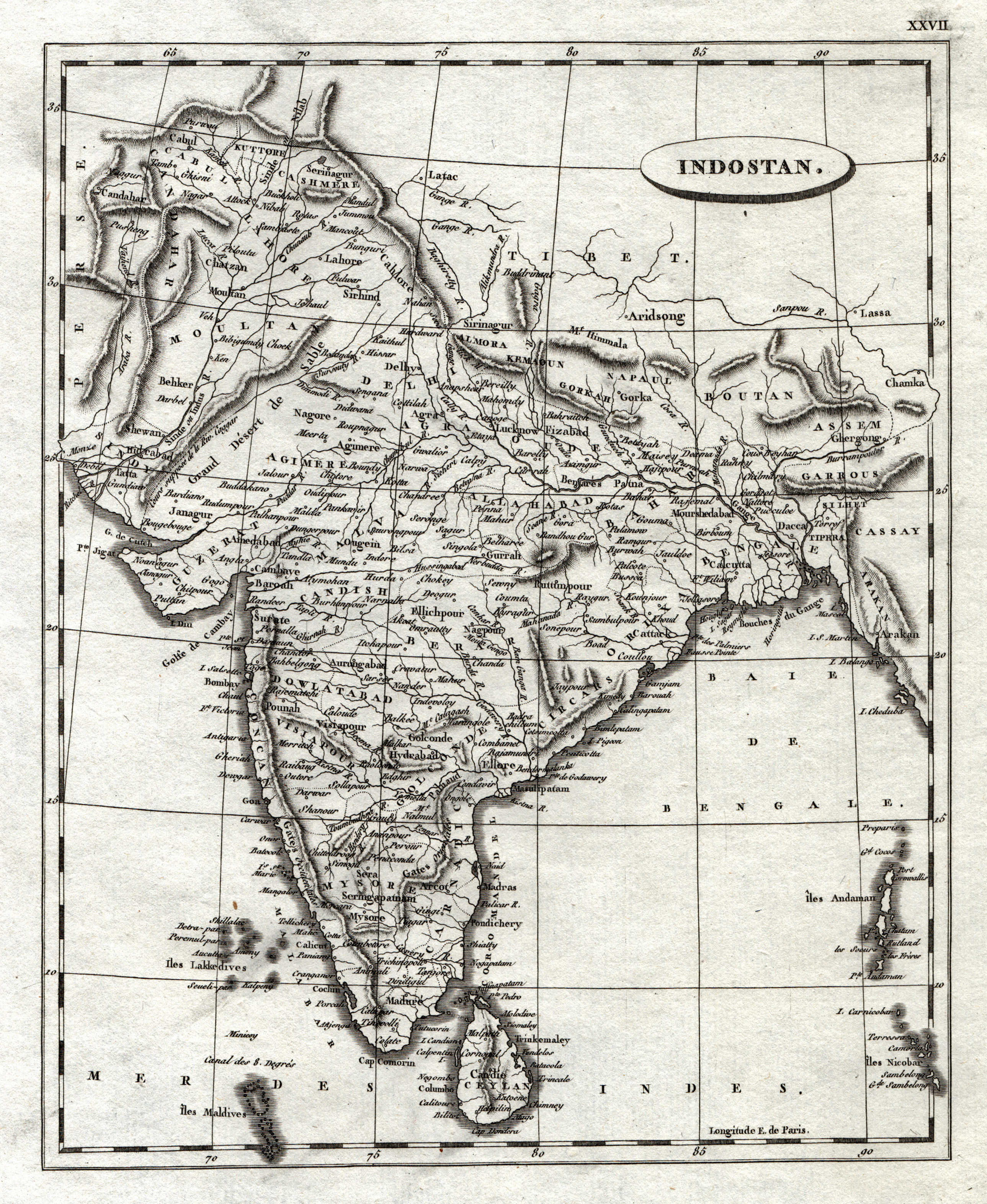 Kst.- Karte, n. Arrowsmith u. Buache aus: Indien ( India