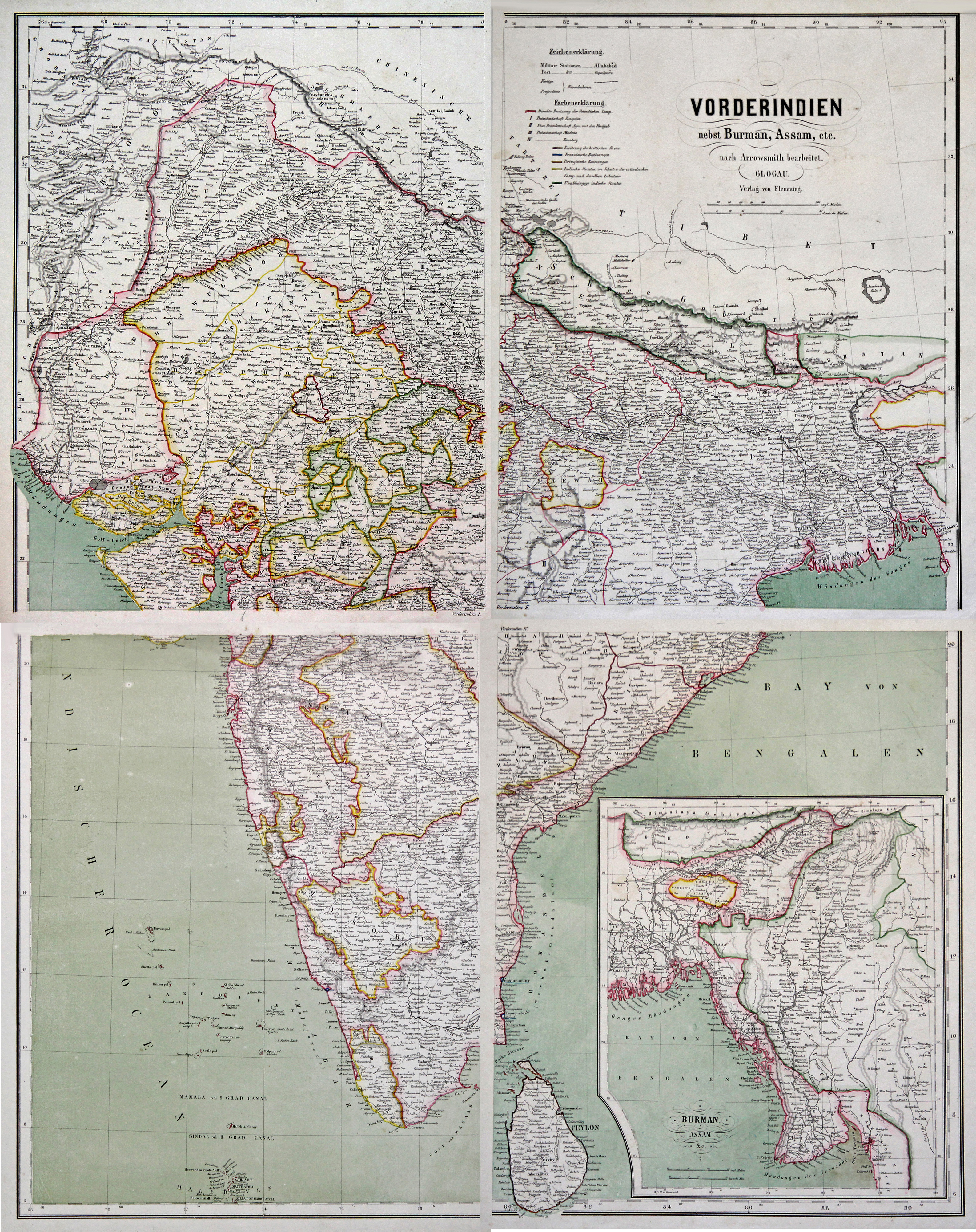 Litho.- Karte, in 4 Blatt, m. farb.: Indien ( India