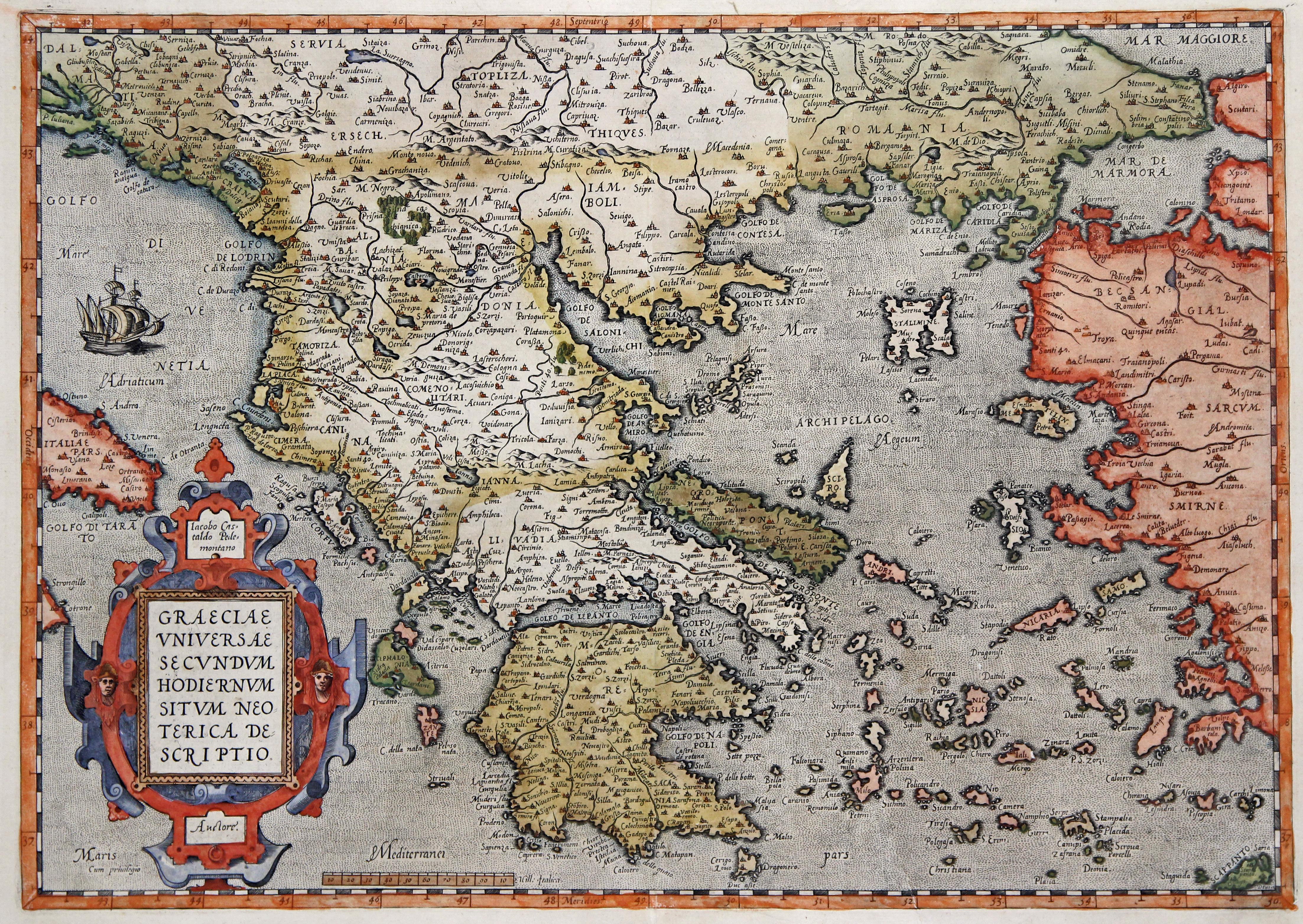 Kst.- Karte, n. I. Gastaldi b. Ortelius,: Griechenland ( Greece