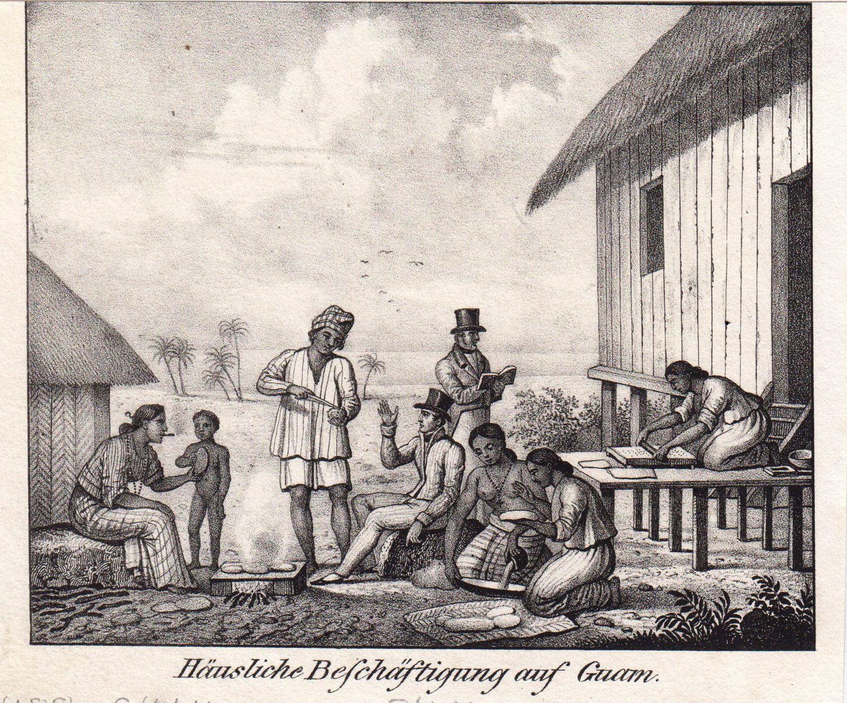 """Hausarbeit, """"Häusliche Beschäftigung auf Guam."""".: Guam: Ethnology:"""