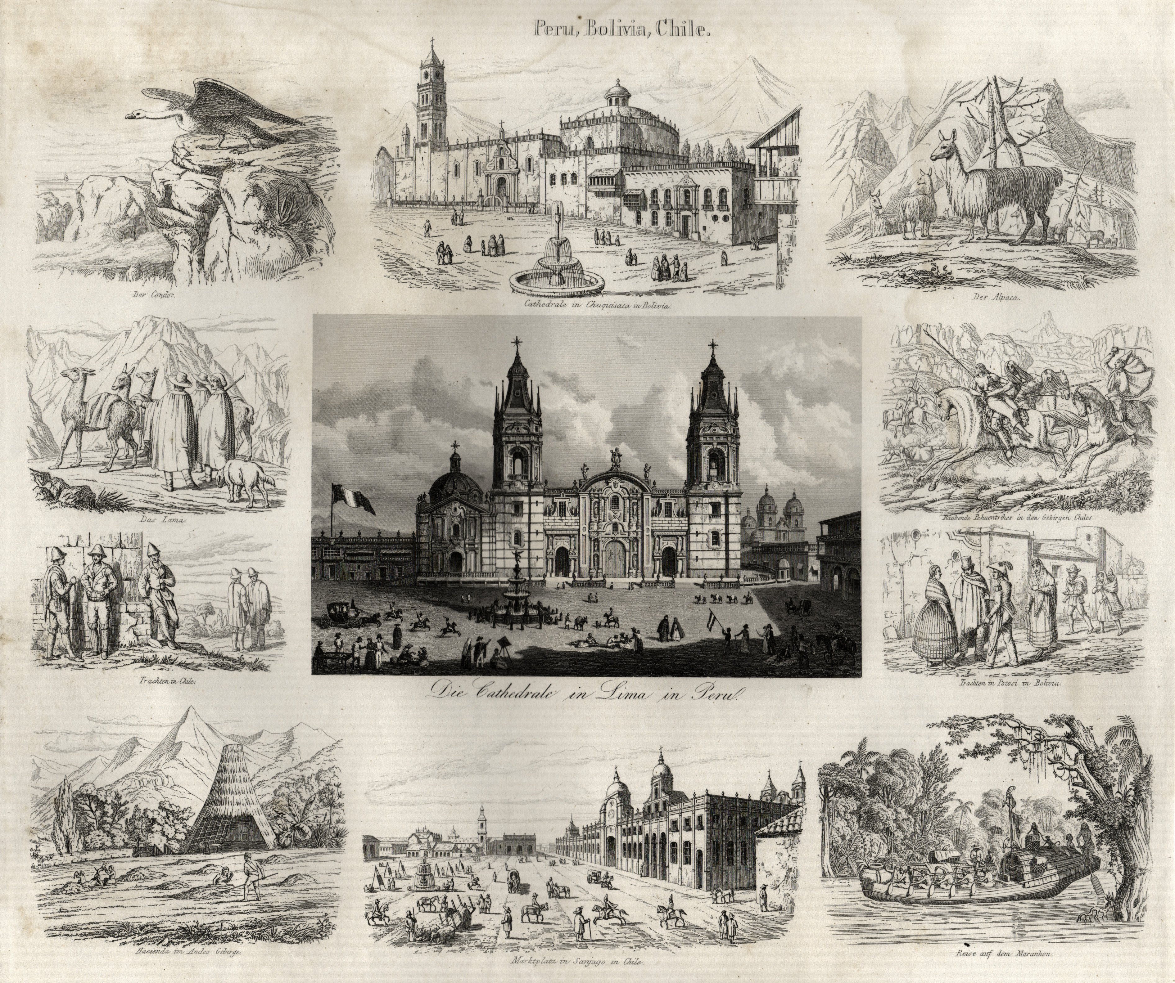 "Souvenirblatt, Zentralmotiv ""Die Cathedrale in Lima in: Peru: Lima:"