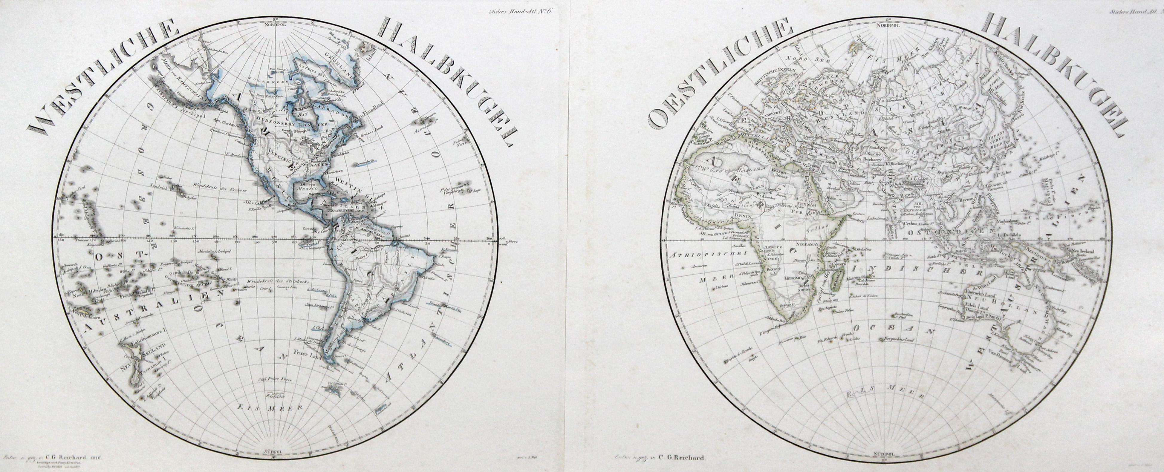 Kst.- Karte, in 2 Blatt, v. Hess: Weltkarte ( World