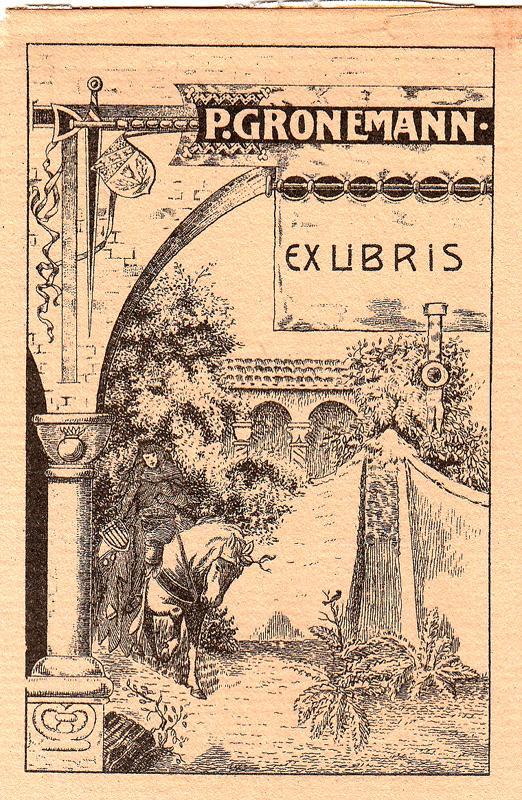 """Klischee """"Ex Libris P. Gronemann"""", ca. 10,0: Wehnert, O. (deutscher"""