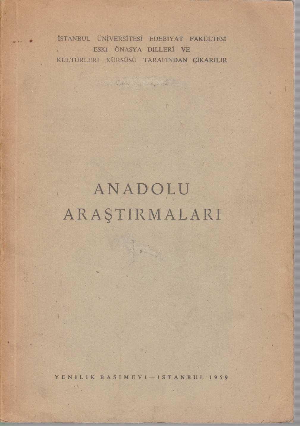 Anadolu Arastirmalari 1,2 / Jahrbuch für Kleinasiatische: Bossert, H. Th.