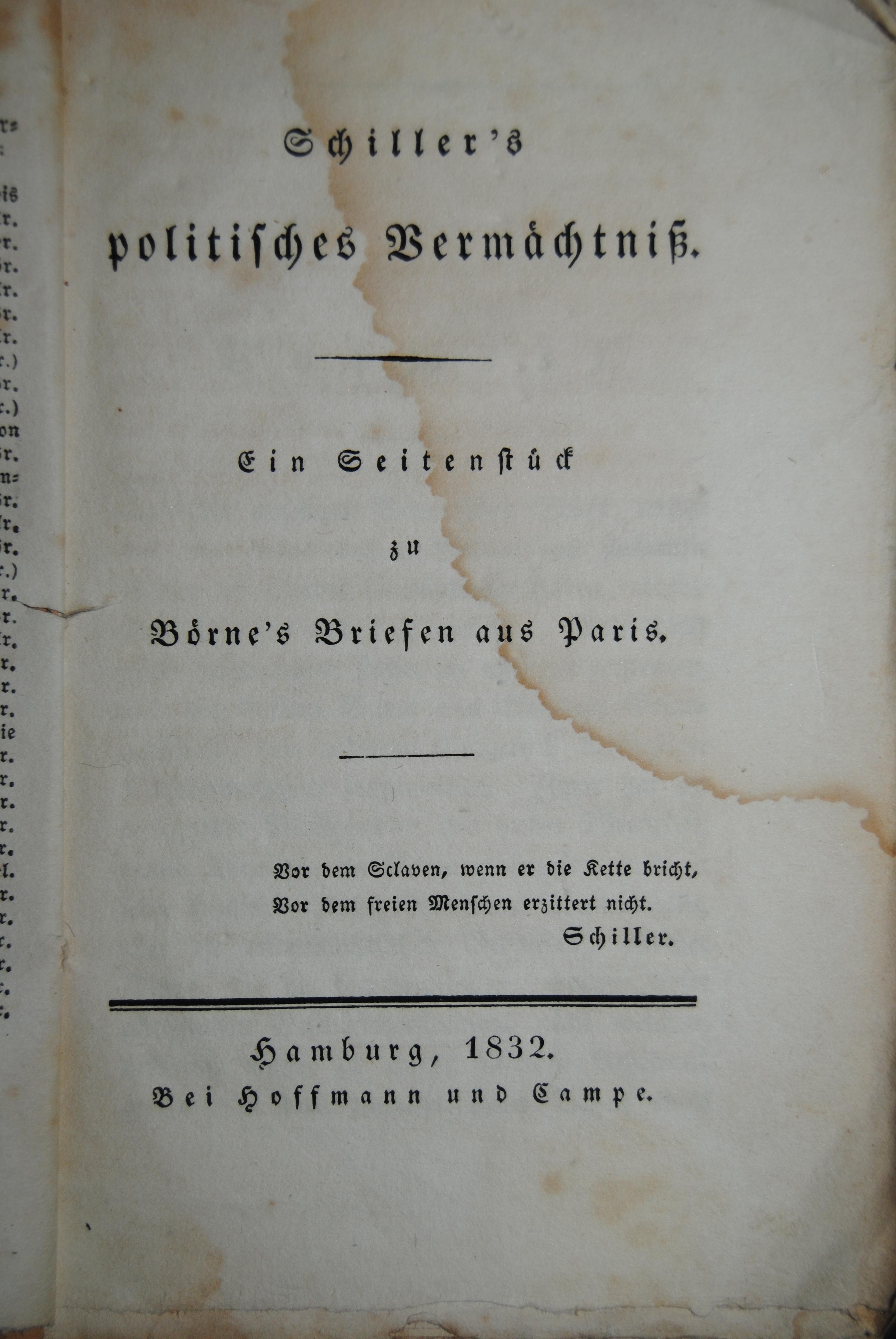 Schiller's politisches Vermächtniß- Ein Seitenstück zu Börne's: Schiller. - (Campe,
