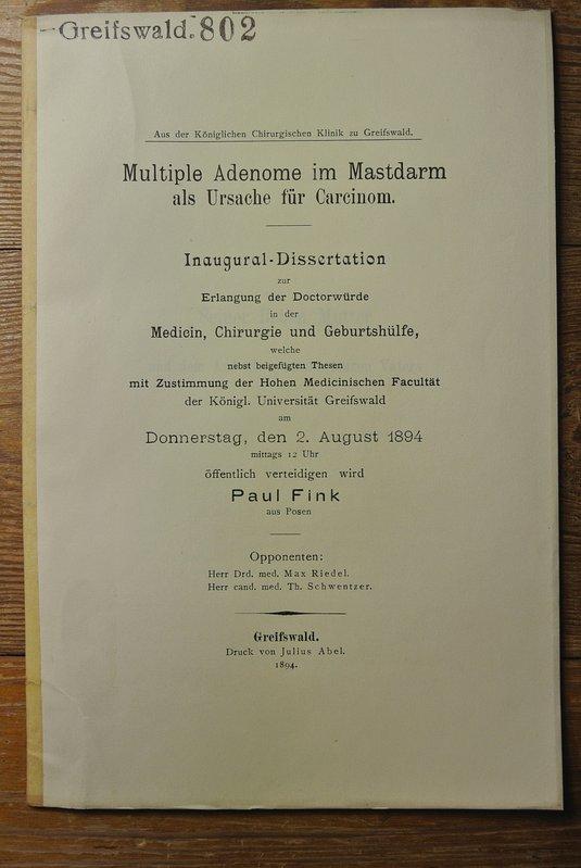 Multiple Adenome im Mastdarm als Ursache für: Fink, Paul,