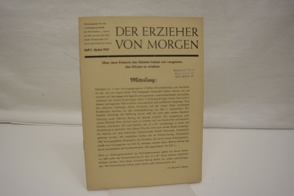 Der Erzieher von Morgen, Heft 5, Herbst: Damm, Karlwilli (Hrsg.):