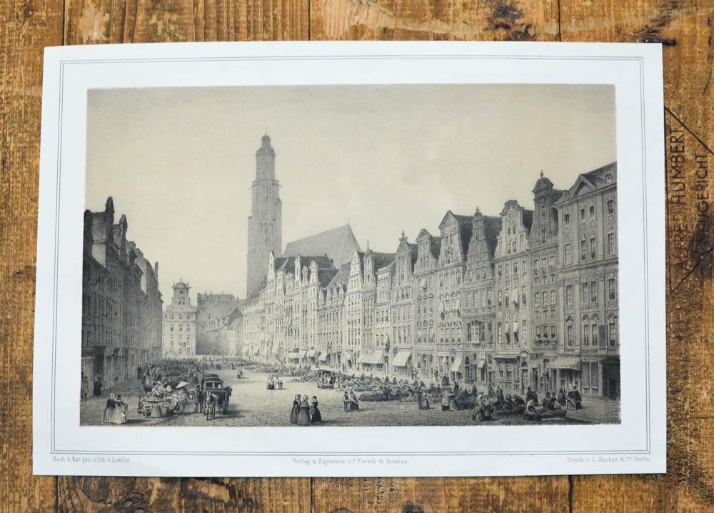 Getönte Lithographie-Ansicht von Loeillot.: Breslau, Wroclaw -: