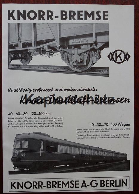 Werbeanzeige: Knorr-Druckluft-Bremsen - 1941.: Knorr-Bremse AG, Berlin: