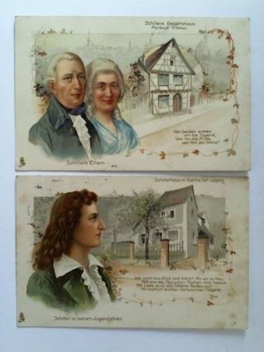2 lithographierte Ansichtskarten: Schillers Geburtshaus, Marbach a.: Schiller, Friedrich)