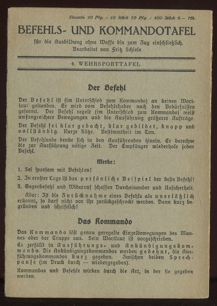 4. Wehrsporttafel: Befehls- und Kommandotafel.: Schiele, Fritz (Bearbeitung):