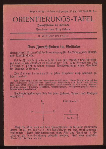 8. Wehrsporttafel: Orientierung-Tafel.: Schiele, Fritz (Bearbeitung):