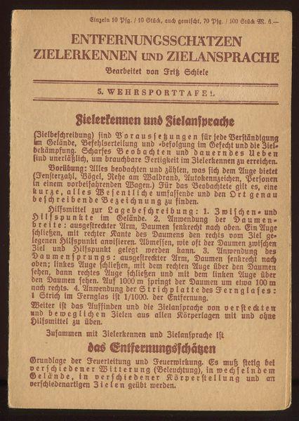 5. Wehrsporttafel: Entfernungsschätzen Zielerkennen und Zielansprache.: Schiele, Fritz (Bearbeitung):