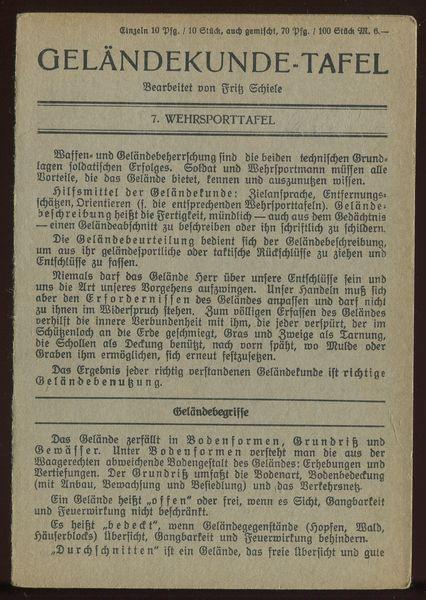 7. Wehrsporttafel: Geländekunde-Tafel.: Schiele, Fritz (Bearbeitung):