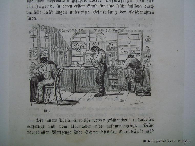 Uhrmacherwerkstatt - Holzschnitt auf Textseite. Bildgröße: 6: Uhrmacher: