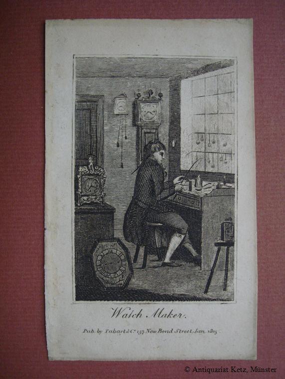 """Watch Maker"""" - Kupferstich von Tabart. Bildgröße: Uhrmacher:"""