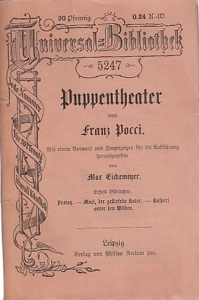 Puppentheater. 1. Prolog, Muzl, der gestiefelte Kater,: Pocci, Franz und