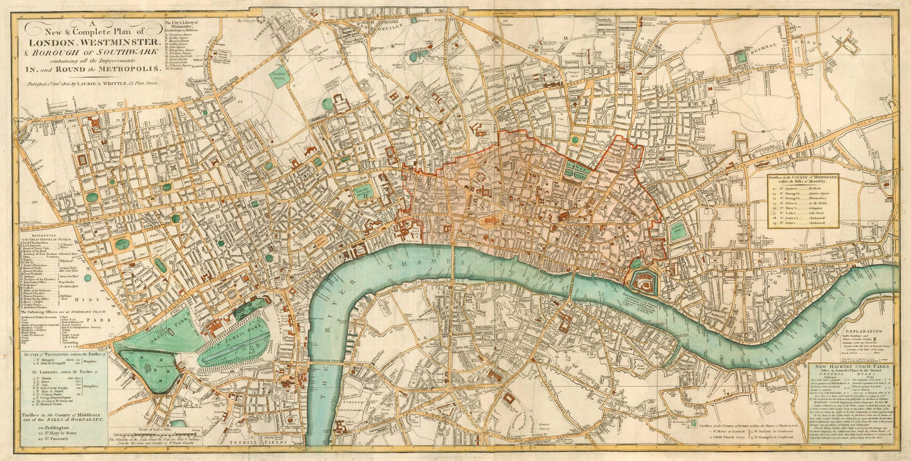 A New Complete Plan Of London Westminster Borough Of Southwark Containing All The Improvements In And Round The Metropolis By Laurie Whittle 1800 Map Altea Antique Maps